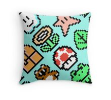 Super Mario Bros. 3 Items (pattern) Throw Pillow