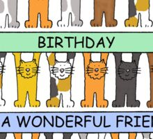 Cats celebrating the birthday of a wonderful friend. Sticker