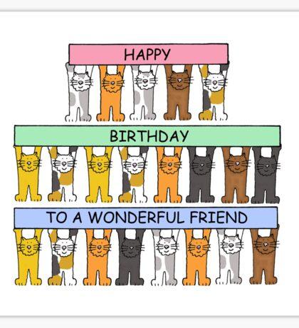 Cats celebrating the birthday of a wonderful friend. Sticker