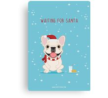 Frenchie Waiting for Santa - Cream Edition Canvas Print