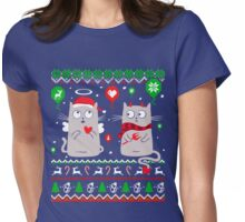 Halo Christmas Cat Lover Shirt Womens Fitted T-Shirt