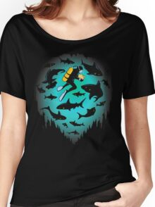 Screwed | Funny Shark and Diver Illustration Women's Relaxed Fit T-Shirt