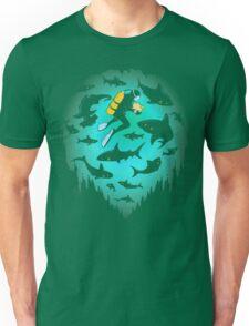 Screwed   Funny Shark and Diver Illustration Unisex T-Shirt