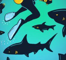 Screwed   Funny Shark and Diver Illustration Sticker