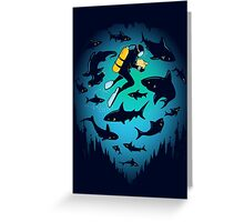 Screwed | Funny Shark and Diver Illustration Greeting Card