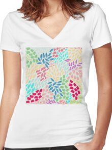 Exploding Petals Women's Fitted V-Neck T-Shirt