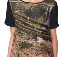 Amazing waterfall in colorful autumn forest - Italy. Chiffon Top