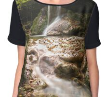 Amazing waterfall in colorful autumn forest - Italy Chiffon Top