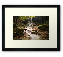 Amazing waterfall in colorful autumn forest - Italy Framed Print