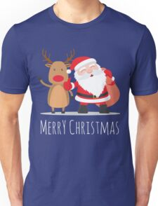 Santa and Reindeer with Merry Christmas Shirt Unisex T-Shirt