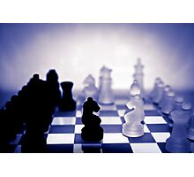 chess pieces in purple Photographic Print