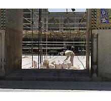 Masjed-e Shah restoration - bags full of plaster Photographic Print