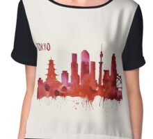 Tokyo Skyline Watercolor Cityscape Painting Chiffon Top