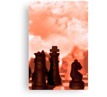 chess pieces isolated against red sky Canvas Print