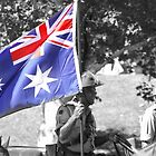 LightHorse Carrying flag- B and W with color by Craig Stronner