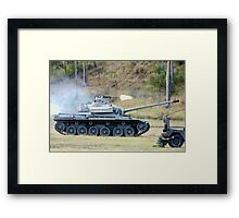 Centurion Tank firing .50 caliber machine gun Framed Print