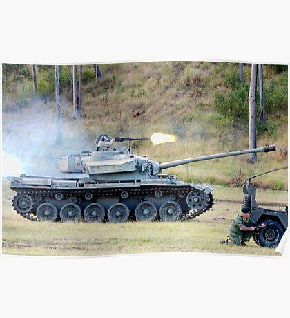 Centurion Tank firing .50 caliber machine gun Poster