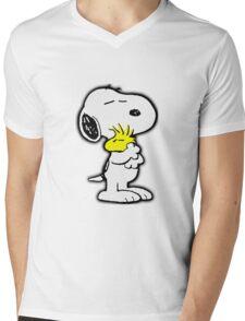 Happy Snoopy Mens V-Neck T-Shirt