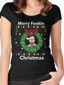 """Merry """"Fookin"""" Christmas Women's Fitted Scoop T-Shirt"""