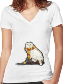 Hedwig the Owl Women's Fitted V-Neck T-Shirt