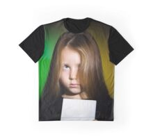Cute little girl with long hair showing book, on colorful background Graphic T-Shirt