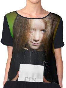 Cute little girl with long hair showing book, on colorful background Chiffon Top