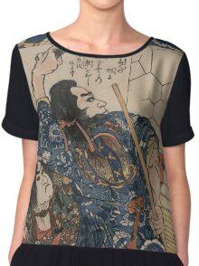 Utagawa, Kuniyoshi - Motosei Komei, Unri Kongo Soma, And Rokkasei Koryo. Man portrait:  mask,  face,  man ,  samurai ,  hero,  costume,  kimono,  tattoos ,  sport,  sumo, macho Chiffon Top