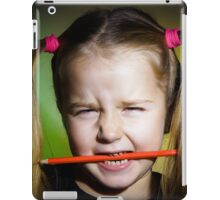 Cute little girl with colorful pencils, on yellow-green background iPad Case/Skin