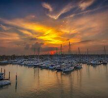 Lymington Yacht Haven Sunset by manateevoyager