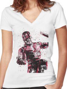 Daredevil Ink Splatter Women's Fitted V-Neck T-Shirt