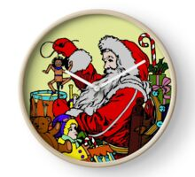 Vintage Santa and lots of toys (full color) Clock