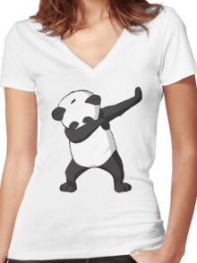 DAB Panda Trend Women's Fitted V-Neck T-Shirt