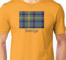 Sverige, Swedish flag in plaid on yellow Unisex T-Shirt