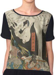 Utagawa Kuniyoshi - Mitsukuni And The Skeleton Spectermid 1840. Man portrait:  mask,  face,  man ,  samurai ,  hero,  costume,  kimono,  tattoos ,  sport, skeleton, macho Chiffon Top