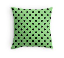 Polka Dot Black On Grass Throw Pillow