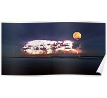 Lightning storm with full moon over the beach Poster