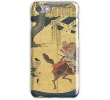 Tosa School - Folding Screen With Design Of The Battle At Uji River. Forest view: forest , horses,  samurai, exploit, warrior, river, bridge, horseman, hunting,  tradition,  sport iPhone Case/Skin