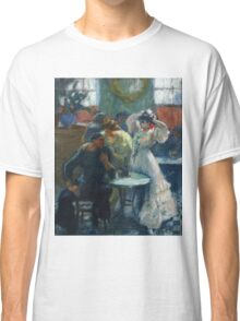 Ricard Canals Llambi - Al Bar. Cafe view: drinking and eating party, woman and man, people, family, female and male, peasants, cafe, romance, women and men, restaurant, food Classic T-Shirt