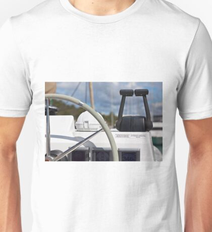 Sailing yacht control wheel and implement Unisex T-Shirt