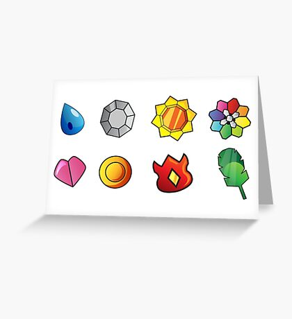 Pokemon Gym Badges Greeting Card