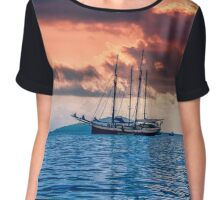 Recreational Yacht at the Indian Ocean Chiffon Top