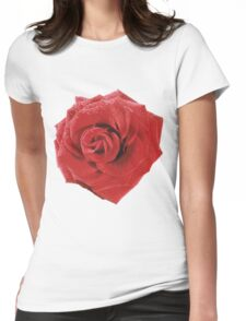 red rose isolated on white background Womens Fitted T-Shirt
