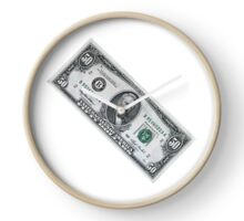 fifty dollar banknote on white background Clock