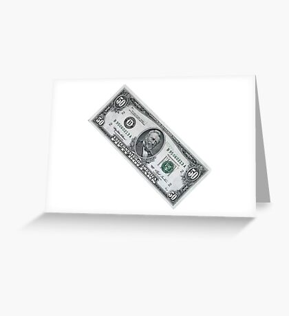 fifty dollar banknote on white background Greeting Card