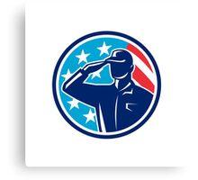 American Soldier Serviceman Saluting Flag Circle Retro Canvas Print