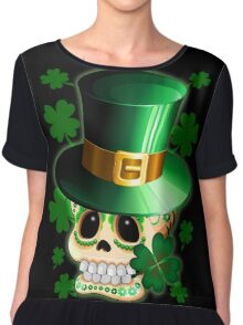 St Patrick Skull Cartoon  Chiffon Top