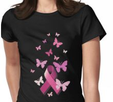 Breast Cancer Pink Awareness Ribbon Womens Fitted T-Shirt