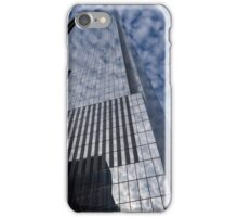Silver and Blue - Glass Skyscrapers and Cloud Puffs iPhone Case/Skin