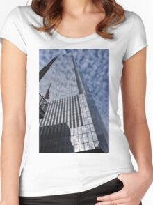 Silver and Blue - Glass Skyscrapers and Cloud Puffs Women's Fitted Scoop T-Shirt