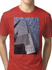 Silver and Blue - Glass Skyscrapers and Cloud Puffs Tri-blend T-Shirt